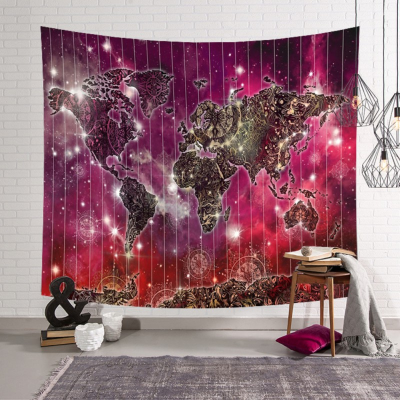 Us 6 74 44 Off Tapestry Wall World Map Room Decorations Safari Mural Art Children Fabric Decals Nursery Carpets Beach Coverlet In