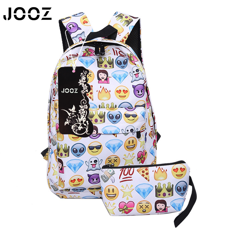 JOOZ Brand 2 pcs/set Casual Canvas Travel Backpack 3D Smiley Emoji Face Printing School Bag for Teenage Girls Women Backpacks  цены