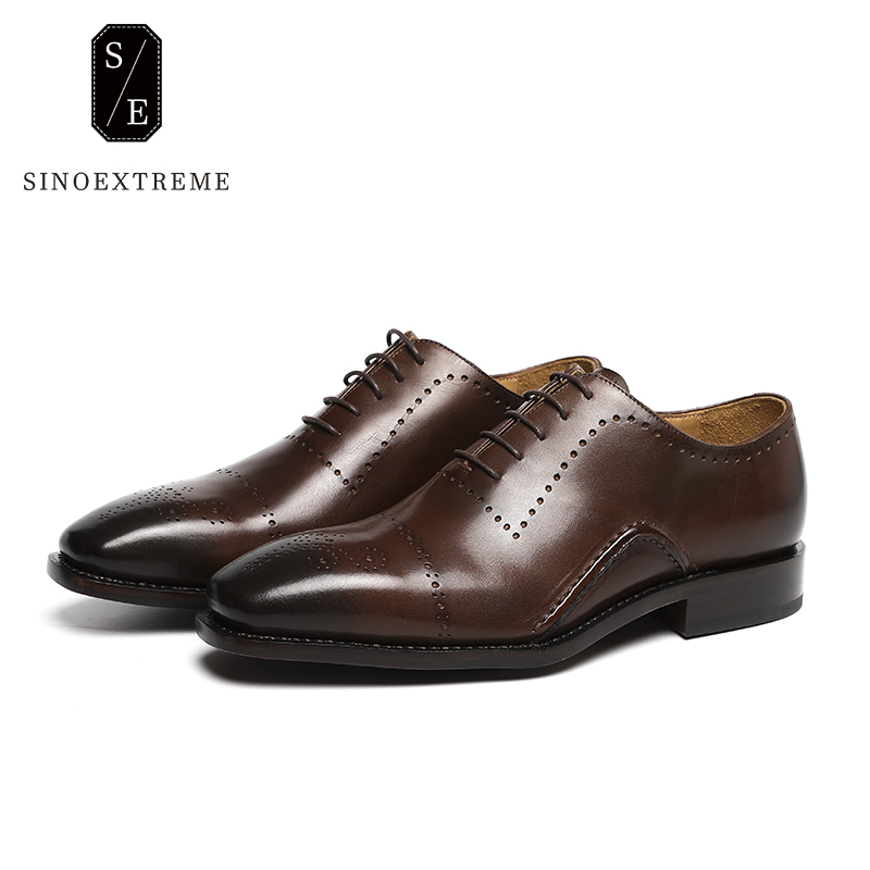 SINOEXTREME Handmade Genuine Leather Oxford Shoes Men Vintage Oxfords For Men Dress Shoes Formal Men Shoes Office Lace Up Shoes hot sale mens italian style flat shoes genuine leather handmade men casual flats top quality oxford shoes men leather shoes
