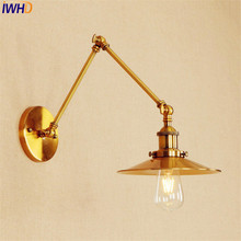 Copper Industrial Edison Wall Sconce Lampen Loft Style Retro Vintage Wall Lamp Swing Long Arm Wall Light Fixtures Antique LED цена 2017