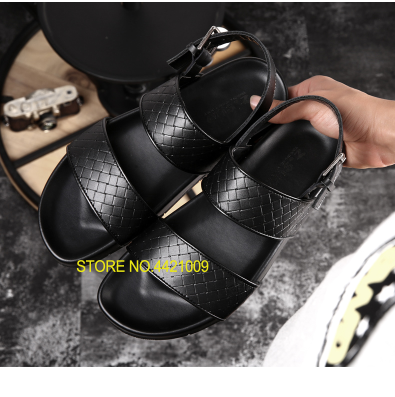 Punk Style Mens Genuine Leather Sandals Shoes 2018 Male Casual Sandals Flats Shoes Knitted Leather Outdoor Man Hiking Shoes genuine leather mens casual sapatos shoes cross straps male runway sandals roman summer shoes flats 2018 man fashion leather