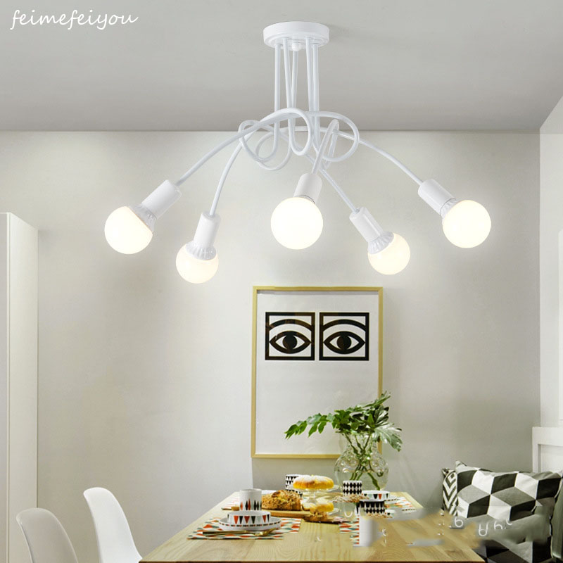 Modern Ceiling Lights Living Room Bedroom Dining Room Lamp Nordic Simple Style Iron Metal Spray Painting Process Black White RedModern Ceiling Lights Living Room Bedroom Dining Room Lamp Nordic Simple Style Iron Metal Spray Painting Process Black White Red