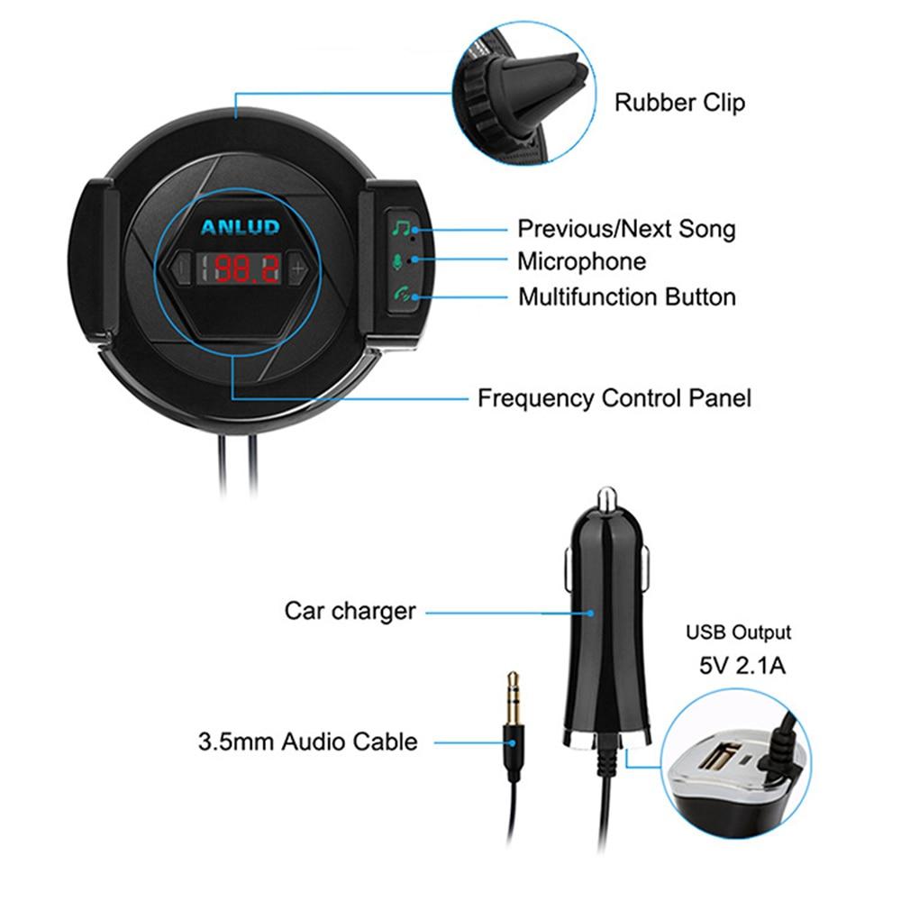 ENKLOV Car Bluetooth Handsfree Kit Car Charger FM Transmitter Car Bluetooth Mobile Phone Stand 3 in 1 Multi Purpose Transmit