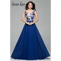 Liebhaber Kuss Vestido De Festa Elegante Chiffon Spitze Appliques Lange Abendkleid Für Frauen Formale Gelegenheits-partykleid Königsblau günstige