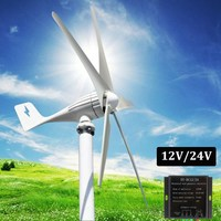 12V 24V 400W Wind Generator 5 Blades Auto Adjust Horizontal Wind Turbines Generator Home Wind Power
