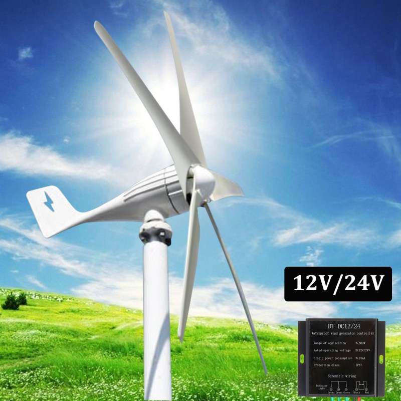 12V/24V 400W Wind Generator 5 Blades Auto Adjust Horizontal Wind Turbines Generator Home Wind Power Generator With Controller free shipping 600w wind grid tie inverter with lcd data for 12v 24v ac wind turbine 90 260vac no need controller and battery
