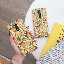 Retro Yellow Flowers Cases for OnePlus 7 / 7 Pro Matte Soft Silicone Case for OnePlus 7 Pro 5G Fashion Floral IMD Phone Cover