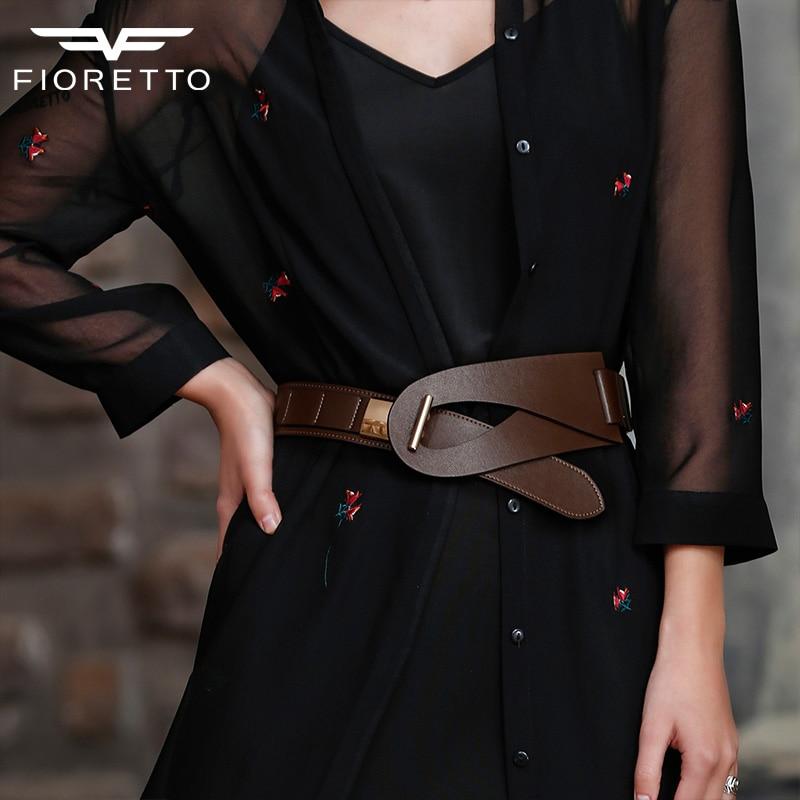 Fioretto მოდის ბრენდის ქამრები ქალთა ტყავის ქამარი კაბები ქალბატონებისთვის ტყავის წელისგან ელასტიური სამაჯური პანკი ფართო ქამრით შავი ყავისფერი