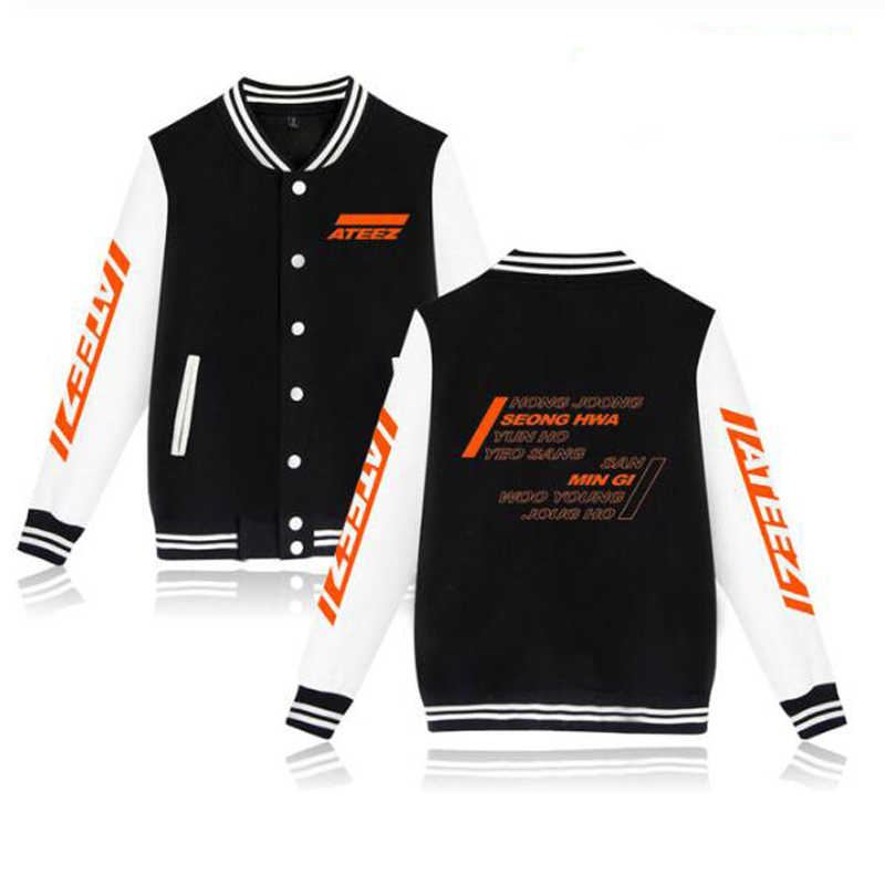 KPOP ATEEZ Album Hongjoong Seonghwa Yeosang San Mingi Wooyoung zip-up Baseball Uniform Fleece jacke Frauen Männer Hoodie Sweatshirt