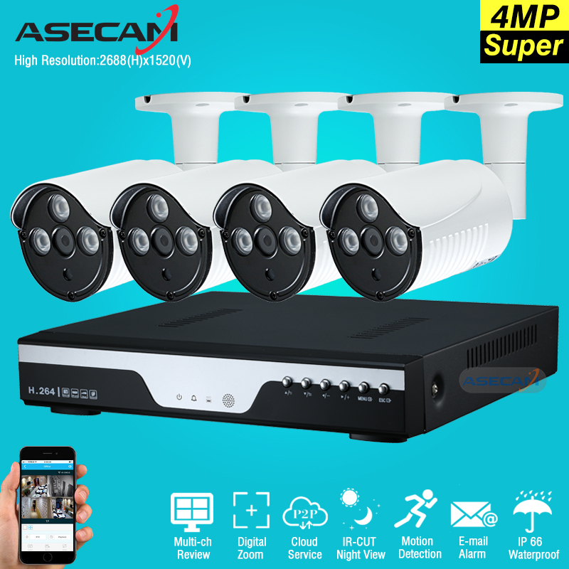 New Super Full HD 4CH 4MP 2688*1520P Outdoor Surveillance Kit 3led Array White Metal Bul ...