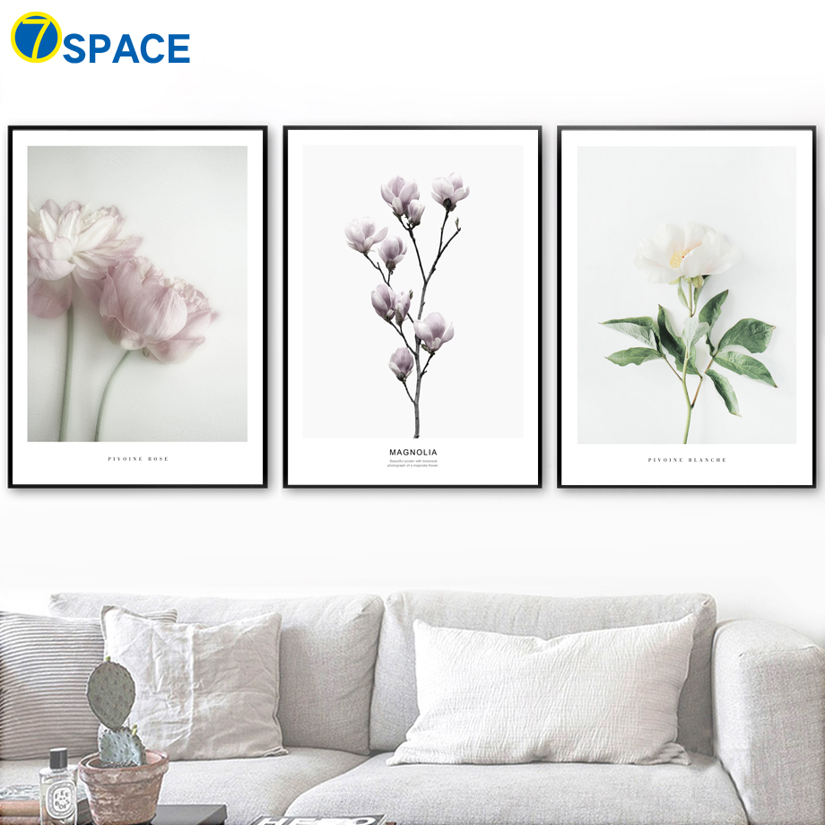 Us 5 55 magnolia lotus rose flower wall art canvas painting posters and prints nordic poster plant paintings for living room wall decor in painting