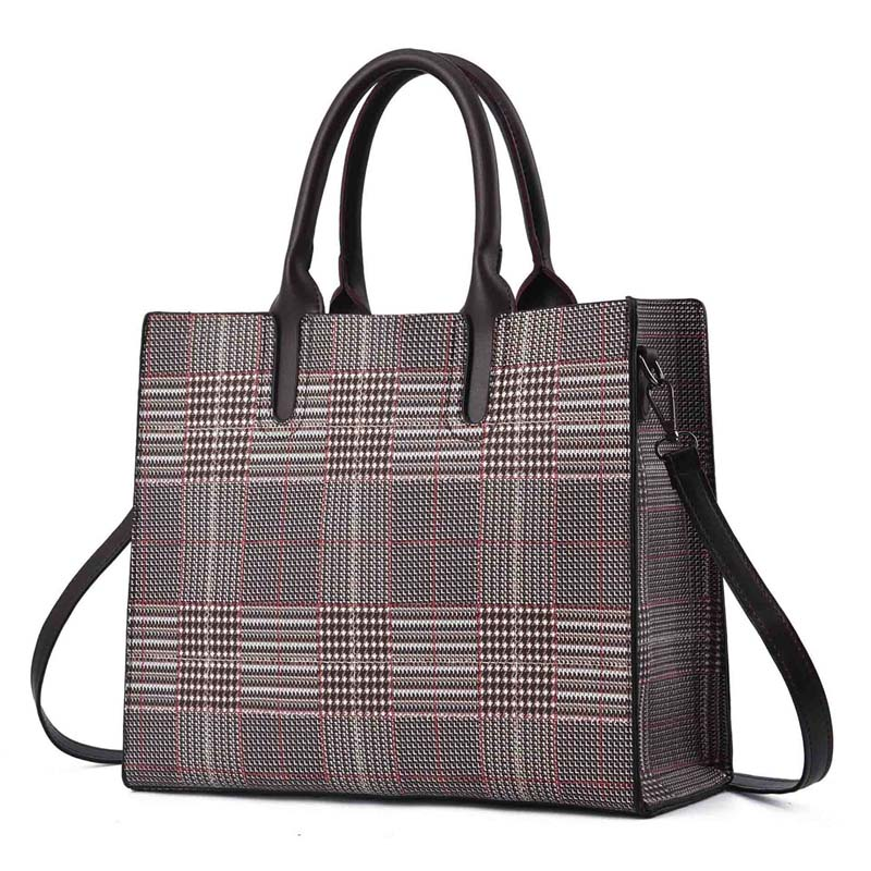 b86673ba7b LAZYLIFE new black and white Plaid large capacity female bags handbags  trend wild ladies handbags handbags women bag-in Top-Handle Bags from  Luggage   Bags ...