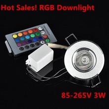 10 ピース/ロット調光対応 AC85 265V 3 ワット led シーリング led ダウンライト、 rgb led ランプ天井ダウンライト + 24 キーリモコン