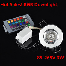 10pcs/lot Dimmable AC85 265V 3W led ceiling LED downlight RGB led lamp ceiling downlight +24 Keys Remote control
