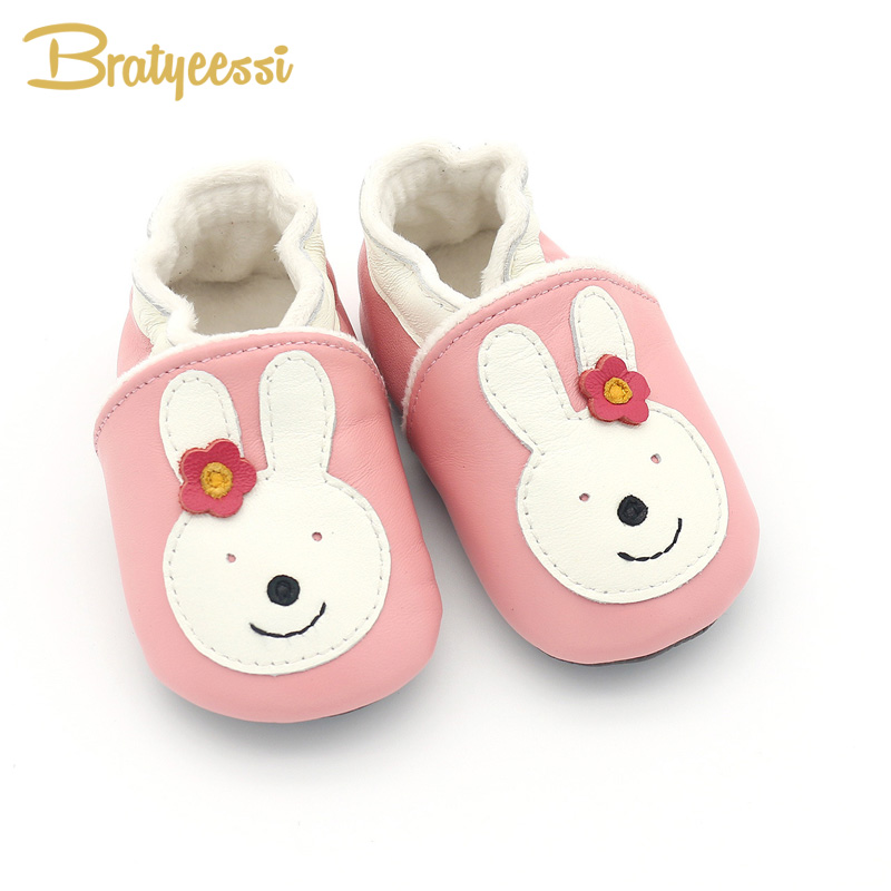 Winter Genuine Leather Baby Moccasins Rabbit Pattern Pink Warm Infant Baby Girl Shoes 12/13/14 cm