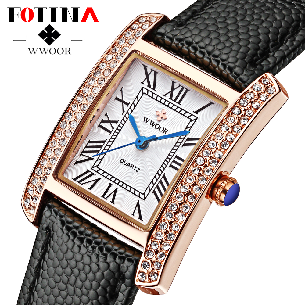 FOTINA Luxury Brand Watch Women Ladies Diamond Dress Watch Casual Crystal Quartz Watches Genuine Leather Strap