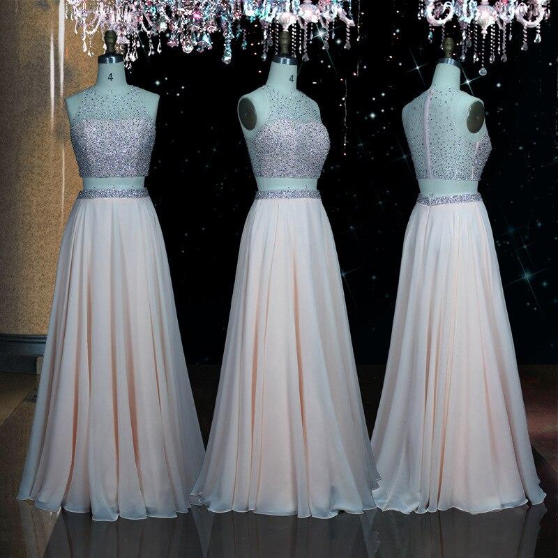 Holievery perlée pure 2 pièces robes de bal 2019 rose longues robes de bal mode O cou robe de soirée vestido graduacion largo