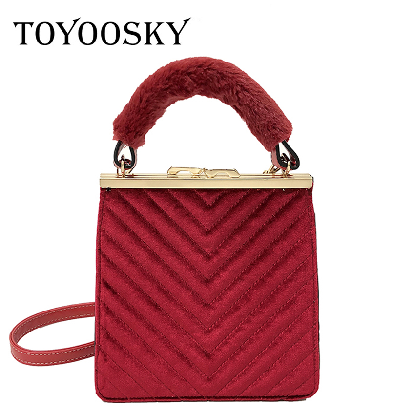 TOYOOSKY Vintage Velour Messenger Bag Women Handbags Famous Brands Clip Ladies Crossbody Flap Bag Velvet Fur Handle Frame Clutch