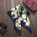 "New Woman's Silk Scarf 35"" 90cm Kerchief Camellia Pattern Flower and Green Leaf Fashion Style Hot Sale Silk Twill Shawl SP168267"