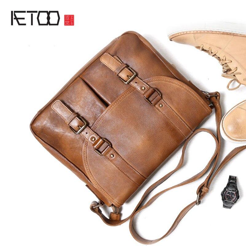 Aetoohandmade Теплые Ретро сумка почтальона личность одного сумка мужской сумка из воловьей кожи сумка кожаная повседневная