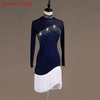 2019 NEW Long Sleeves Dance Dress Women's Latin Dress Competition Competition Pattern Waltz / Tango Dance Dress Free Delivery