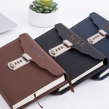 New Leather Diary notebook with Lock code Password  thick office School supplies stationery Products note book gift