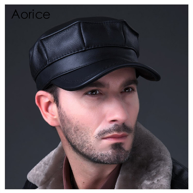 Aorice Genuine Leather Baseball Cap Mens Hats And Caps Autumn Winter Solid  Color Brown Black Leather Cap Leisure Fashion HL059 070c4deb1932