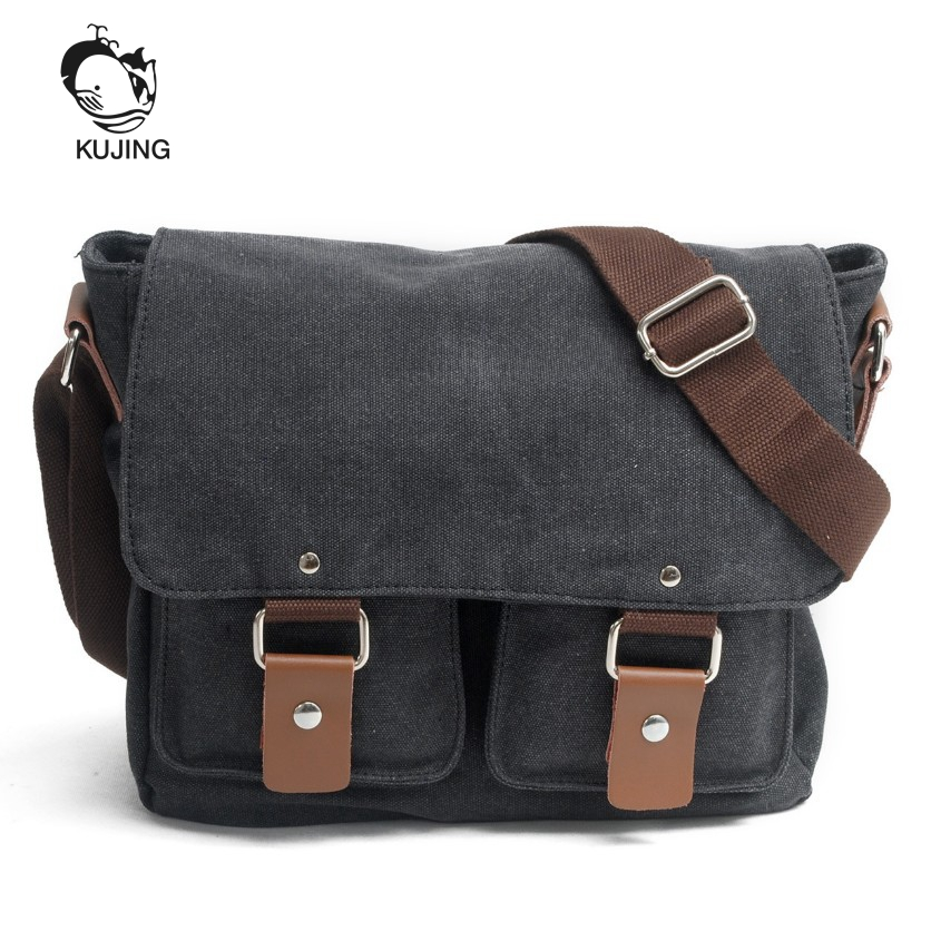 KUJING Handbags High Quality Retro Men And Women Canvas Bag Men Shoulder Bag Men And Women Casual Messenger Bag Business Men Bag kujing canvas men s bag high quality cowboy large capacity travel men handbag retro shoulder messenger bag luxury men casual bag