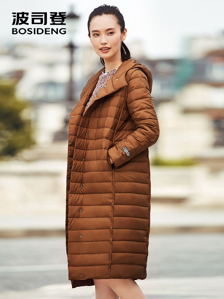 BOSIDENG winter duck   down   jacket for women thin   down     coat   X-Long parka winter outwear loose hooded high quality B70132104V
