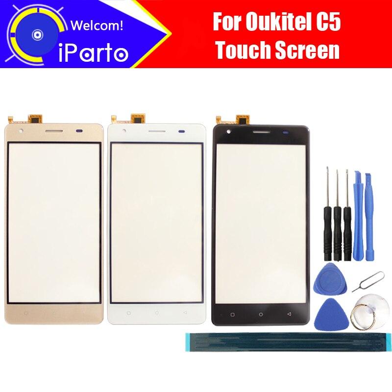 5.0 pouce Oukitel C5 Écran Tactile En Verre Panneau 100% Garantie D'origine Panneau de Verre Écran Tactile Pour C5 + outils + adhésif