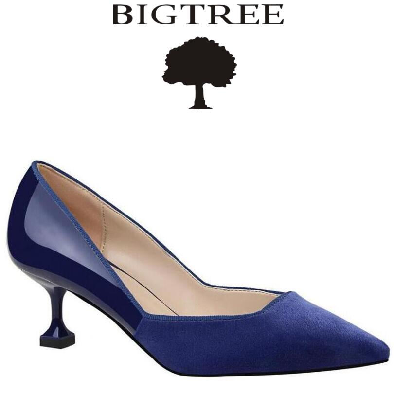 BIGTREE 2017 New Shoes Woman Classic Pumps Women Slip On Mid Heel Ladies High Heel Shoes