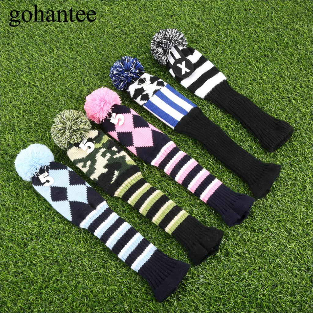 3pcs/set Colorful Knitted Fabric Golf Hybrid Club Head Covers Wooden Driver/Fairway Wood Headcover For Cobra/PXG/Callaway Driver