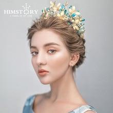 HIMSTORY خمر الأزرق زهرة فراشة تاج تيارا الملكة الباروك الزفاف حفلة إكسسوارات الشعر