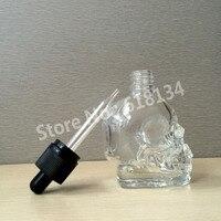 2 Pcs Glass Skull 60ml Skull Glass Dropper Bottle 2 Oz Skull Bottle With Childproof And