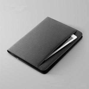 Image 4 - 多機能革ファイルフォルダ A4 ジッパーバッグマネージャーと ipad と携帯電話スタンド弾性剛性 USB fasterner 1105E