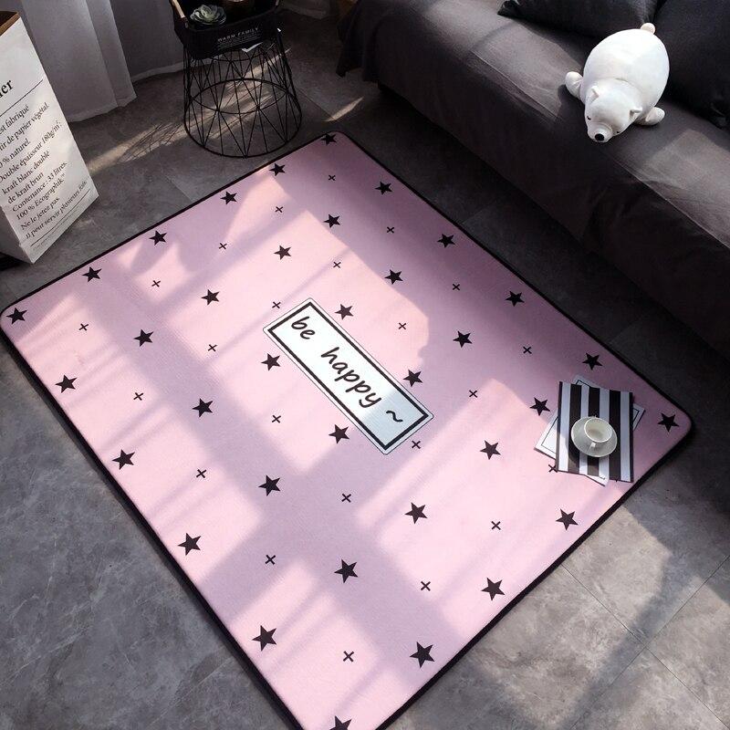 Mode moderne belle douce rose étoiles heureux salon chambre salon décoratif tapis tapis tapis bébé jouer tapis décoration de la maison