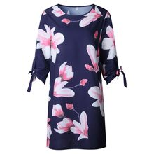 5xl dresses large sizes women clothes new arrival 2019 summer fashion floral dress half sleeve casual loose chiffon dress 0804(China)