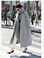 Arlenesain Light Grey Wool Material Long Warm Women Trench Coat
