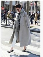 Arlenesain Light Grey Wool Material Long Warm Women Trench Coat