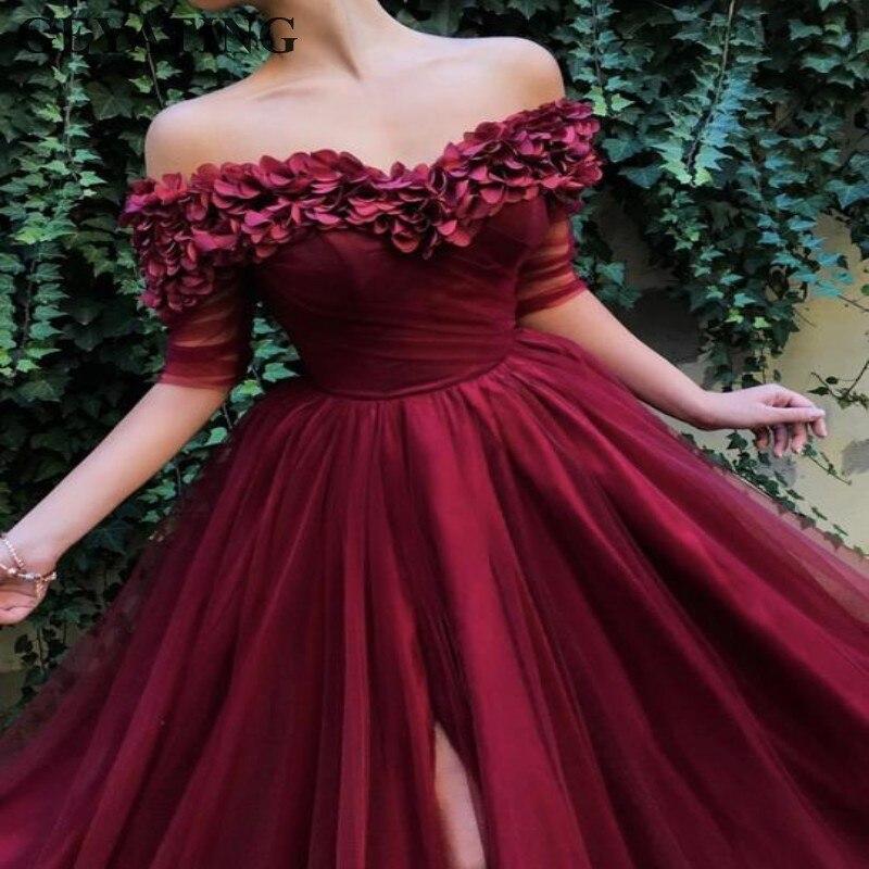 Arabe bordeaux longues robes de bal avec demi manches pétales de Rose côté fente fête Occasion spéciale robe élégante robes de soirée