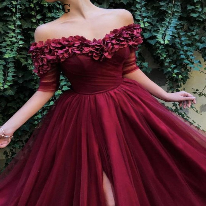 Arabic Burgundy Long   Prom     Dresses   with Half Sleeves Rose Petals Side Slit Party Special Occasion   Dress   Elegant Evening Gowns