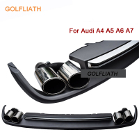 GOLFLIATH Rear Diffuser Lip Kit Bumper Skid Plate End Pipe Muffler Tip S4 S5 S6 S7 Style For Audi A4 A7 2012 2015 4 door Sedan