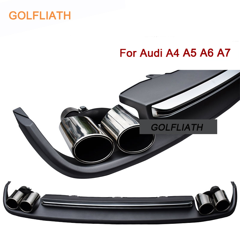 GOLFLIATH <font><b>Rear</b></font> <font><b>Diffuser</b></font> Lip Kit Bumper Skid Plate End Pipe Muffler Tip S4 S5 <font><b>S6</b></font> S7 Style For <font><b>Audi</b></font> A4-A7 2012-2015 4-door Sedan image