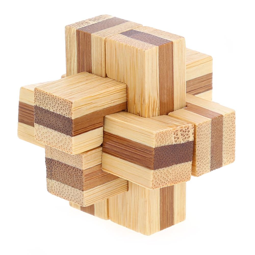 3D Interlocking Wooden Puzzle 6 Pieces Cross Wooden Burr
