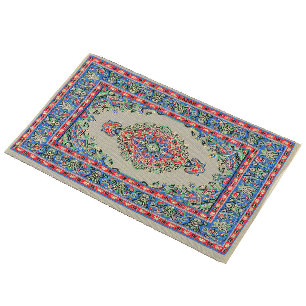 1/12 Dollhouse Miniature Turkish Style Rug/Carpet/Mat Floor Embroidery Cloth Mat Room Accessories Blue fit for 1:12  dollhouse