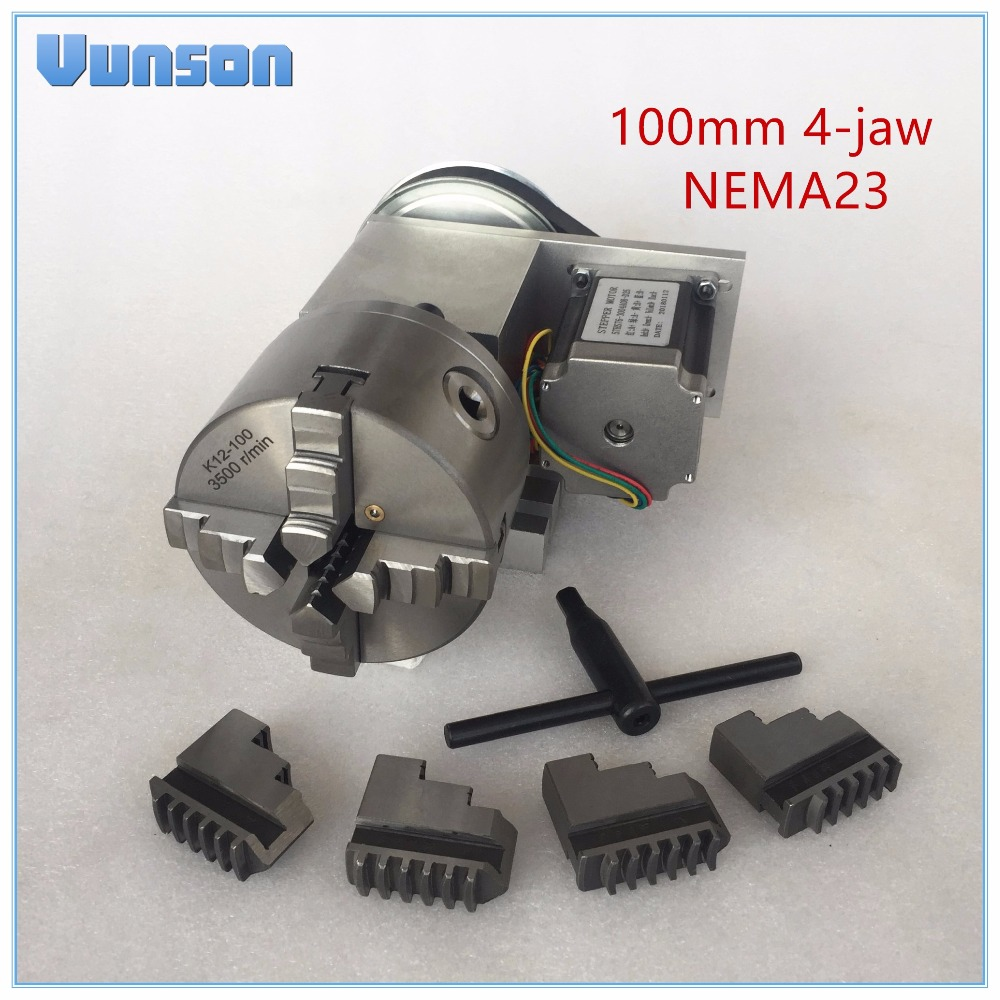 Hollow Shaft 100mm 4 Jaw Chuck NEMA23 Motor Rotary Axis CNC 4th Axis Headstock for Woodworking