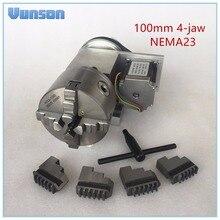 Полый вал 100 мм 4 кулачковый патрон NEMA23 вращающаяся ось двигателя CNC 4 я ось головка для деревообработки CNC3040 маршрутизатор