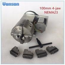 Hohlwelle 100mm 4 Jaw Magnetspannplatte NEMA23 Motor Drehachse CNC. Achse Spindelstock für Holzbearbeitung CNC3040 Router