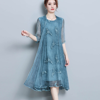 Two pieces fashion new Summer Silk dress women Vintage Style Floral Chiffon dress casual loose plus size Dresses Female vestidos