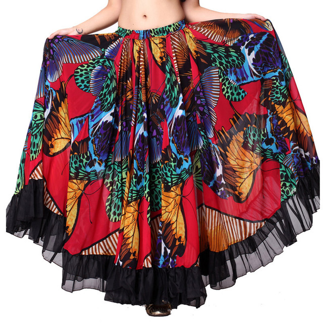 720 Degrees Tribal Belly Dance Performance Gypsy Clothes Butterfly printed Flamenco Wear Women Sheer Chiffon Skirts